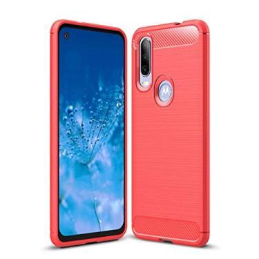 Kit Danet Capa Capinha Anti Impacto Para Motorola Moto One Action Tela 6.3Case Com Desenho Fibra De Carbono E Película De Vidro Temperado (Vermelho)