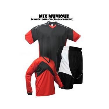 Uniforme Esportivo Munique 1 Camisa de Goleiro Omega + 10 Camisas Munique +10 Calções - Preto x Vermelho x Branco