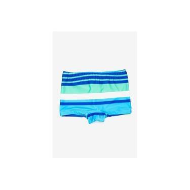 Sunga Boxer Infantil Listrada Azul-Marinho e Verde