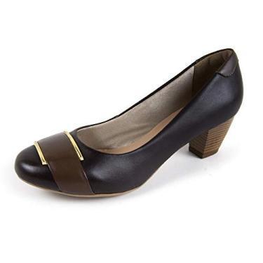 Sapato Scarpin Salto Grosso Linha Social Elegance Miuzzi - 3504 - Café