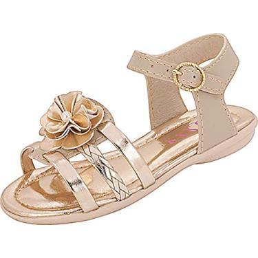 Sandália Plis Calçados Beijinho Marfim Dourada