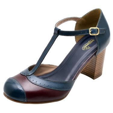 Sandália em Couro Miuzzi Marinho  feminino