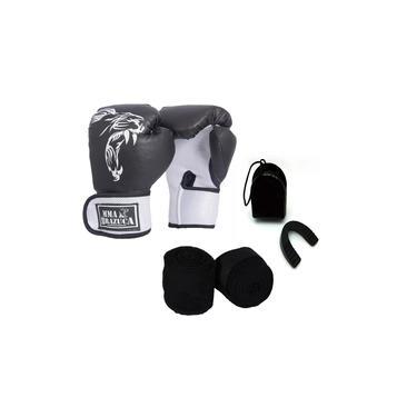 Kit Boxe Muay Thai Luva Bandagem Bucal Brazuca Preta 10oz