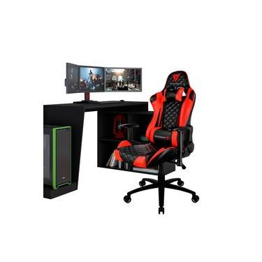 Mesa Para PC Gamer Dark BMG-03 com Cadeira Gamer TGC12 ThunderX3 Preto Vermelho - Lyam Decor