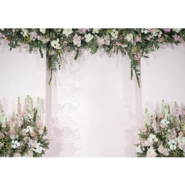 Cortina de flores brancas Fotografia de casamento Pano de fundo Cortina de festa Fundo da foto Decoração de pano Banggood