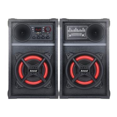 Caixa De Som Amplificada Amvox Aca 601 New X Bluetooth, Show De Led, 2 Entradas Microfone, Função Power X 600W