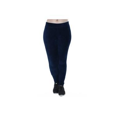 Imagem de Calça Legging Feminina Veludo Cotele Confort Grossa Azul Marinho