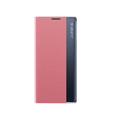 Celular Capa Samsung Galaxy M31/M21/M30S Case Função de Sono Inteligente(Exibidas hora e data) Função de Suporte para flip e Absorção Magnética Case Ultrafina Couro Protetora Cover:Cor Rosa