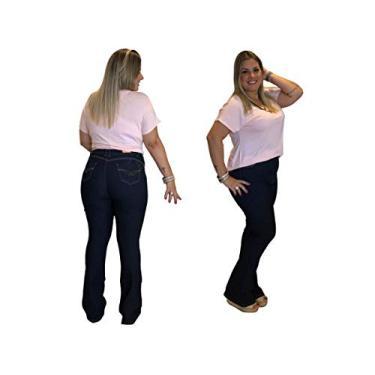 Calça Jeans Feminina Boot Cut Plus Size Flare Escura (48)
