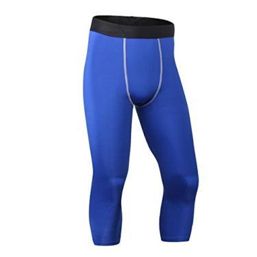 Imagem de ToXodo Calça legging masculina capri 3/4 de compressão esportiva para academia, corrida, secagem rápida, Azul, M