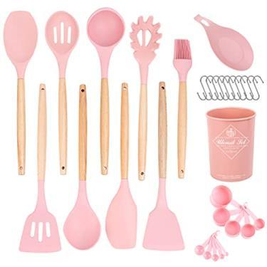 Imagem de Hemoton Utensílio de cozinha de silicone rosa com suporte antiaderente, resistente ao calor, kit de utensílios de cozinha, utensílios de cozinha de silicone