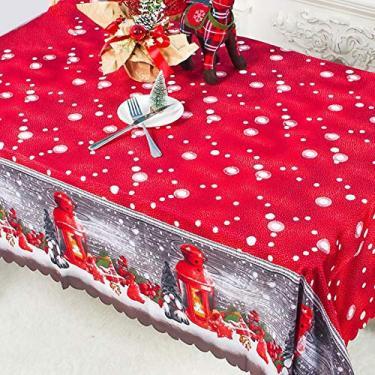 Imagem de MuYiYi11 Toalha de mesa com tema de Natal, toalha de mesa de jantar 3D, decoração de festa de Natal para casa, 150 x 180 cm, 3