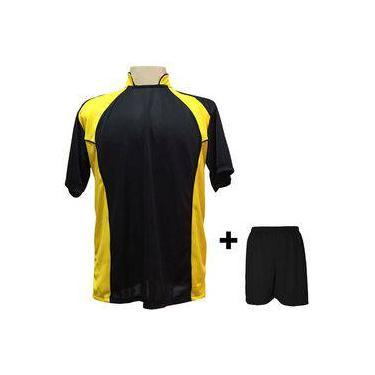 Uniforme Esportivo Com 14 Camisas Modelo Suécia Preto amarelo + 14 Calções  Modelo Madrid Preto 3668f86047508