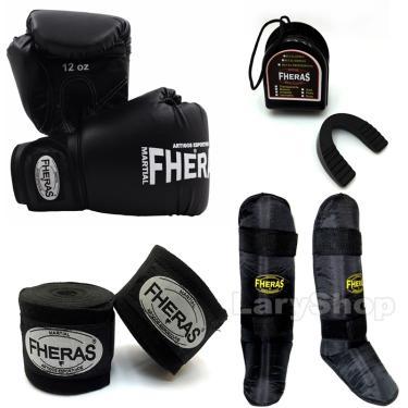 Kit Muay Thai Fheras Luva Caneleira Bandagem Bu. 14oz Preta
