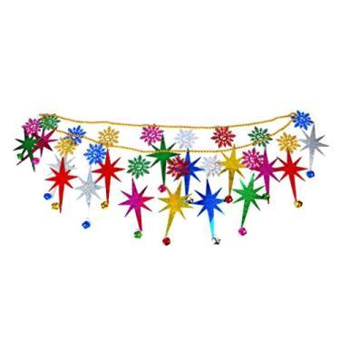 Guirlanda de corrente de contas de Natal Amosfun com sinos de Natal para pendurar no teto decorações de pendurar árvore de Natal pendente Decoração de festa de Natal