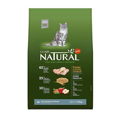 Ração Natural Guabi para Gatos Sênior Castrados sabor Frango e Arroz - 7,5kg