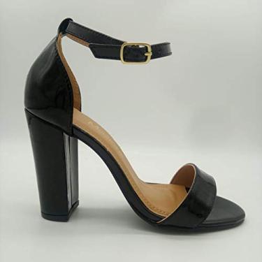 Sandália Sapatos Feminino Salto Alto Fino Conforto Macio Cor:Verniz Preto-FG;Tamanho:39