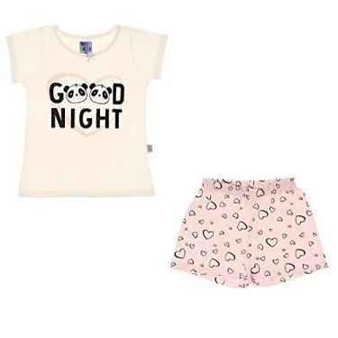 Pijama Infantil Menina Panda Pulla Bulla Ref. 42707 Cor:Creme;Tamanho:8
