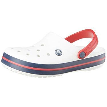 Sandália Crocband, Crocs, Adulto Unissex, White/Navy/Pepper, 43