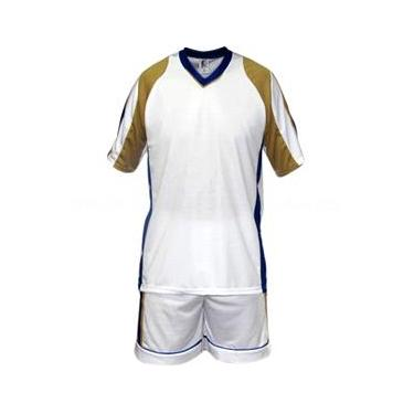 Uniforme Esportivo Texas 2 Camisa de Goleiro Florence + 20 Camisas Texas +20 Calções - Branco x Dourado x Royal