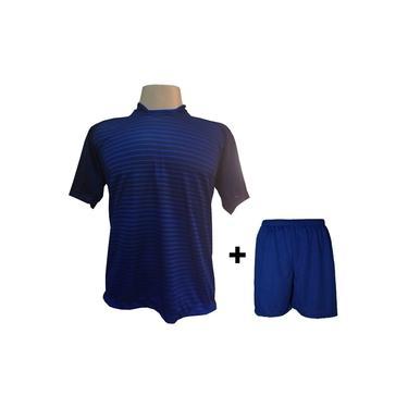 Imagem de Uniforme Esportivo com 18 camisas modelo City Marinho/Royal + 18 calções modelo Madrid Royal +