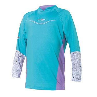 Camiseta Fem Proteção UV Body Fit Mormaii Manga Longa Infantil/Verde água-Lilás / 4