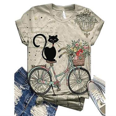 Camisetas femininas Jawint fofas com estampa de cachorros gatos em 3D, camisetas de manga curta, casuais, soltas, de algodão, novidade, camisetas, Branco, X-Large