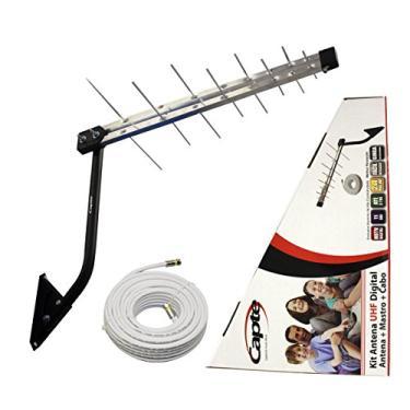 Kit Antena Digital 4K para TV Log 16 com Mastro 50 cm e Cabo coaxial Capte 10 metros