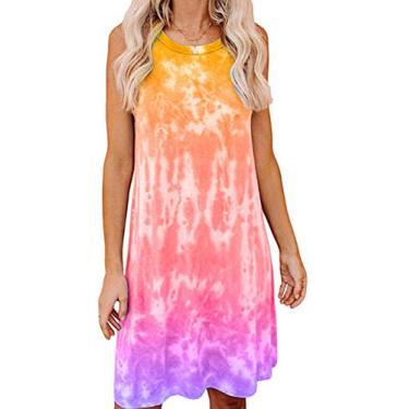 SAFTYBAY Vestido feminino tie dye, casual, sem mangas, minivestido solto, regata, gola redonda, Laranja, S