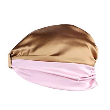 FRCOLOR Boné de dormir cáqui e rosa imitando tecido de seda boné noturno boné elástico