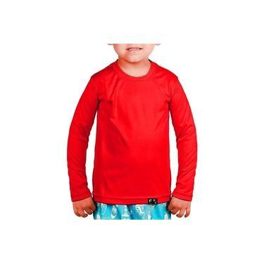 Camisa Infantil Unissex Proteção Solar Uv Fps50+ Slim Kids Praia Lazer – Vermelho