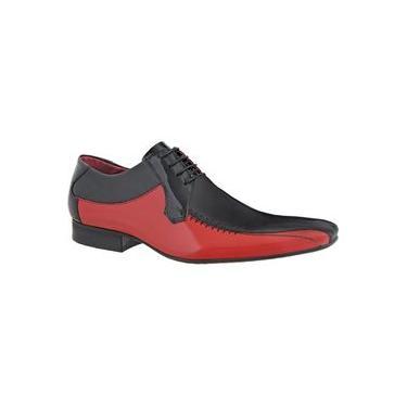 Sapato Masculino Amarrar Social Bico Longo Italiano 441 Preto Com Vermelho