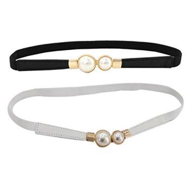 EXCEART 2Pcs Pérola Forma Buckle Cintura Mulheres Magras Cintos De Couro Genuíno Fivela Cós Criativo Fivela Cinto para Calças Jeans Vestido