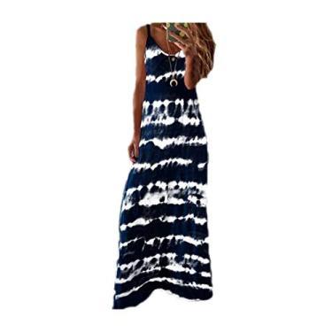 SAFTYBAY Vestido maxi feminino boêmio, vestido longo sem mangas, estilo tie dye, casual, solto, decote em V, vestido de praia rodado, Azul marinho, 3XL