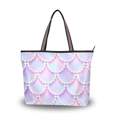 ColourLife Bolsa feminina com alça superior estilo sereia e violeta, bolsa de ombro, Multicolorido., Large
