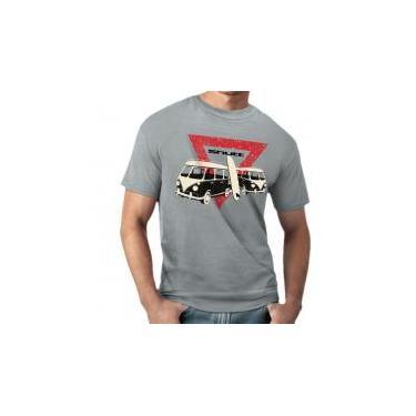 Camiseta Shutt Kombi Surf Casual Cinza Estampa Preta Vermelha e Branca - GG  - 63f131ecb59