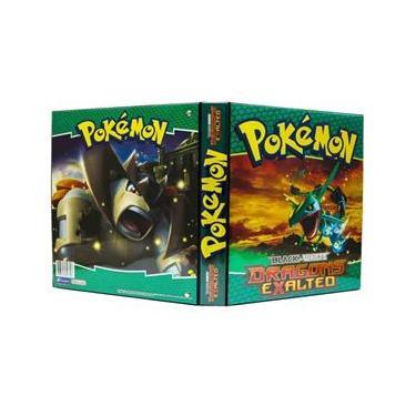 Pokémon Pasta Fichário 3 Aros c/ 20 porta cards plásticos 9 bolsos modelo Black & White Dragons Exalted