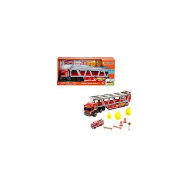 Imagem de Caminhão de resgate de caixa de fósforos com tema Playset com 1 veículo com tema de fogo, capacidade para 16 carros, rampa de liberação fácil, 8 acessórios e armazenamento, para crianças de 3 anos ou mais