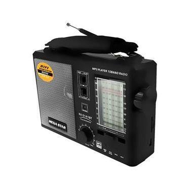 Rádio Portátil FM/AM/SW 1-8 MegaStar RX-5141BT com Bluetooth/USB/SD/SW1-8 Bivolt - Preto