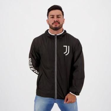 Jaqueta Corta-Vento Juventus Lettering Capuz Masculina - Spr