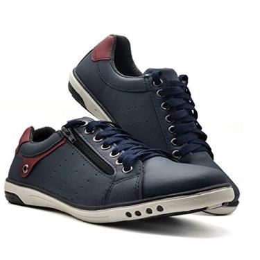 Sapatenis Sapato Tenis Masculino Casual Ziper MOD 717 Cor:Marinho;Tamanho:41