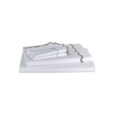 776633b256 Jogo de Cama Casal Venetian Branco Khaki 4 Peças Percal 200 Fios - Casa