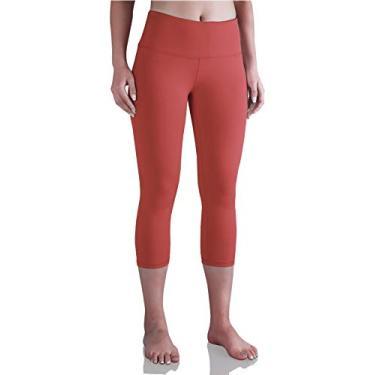 Ododos Calça legging feminina de ioga de cintura alta, controle de barriga, para exercícios e ioga com bolso interno, Capris Mid Waist-coral, Medium