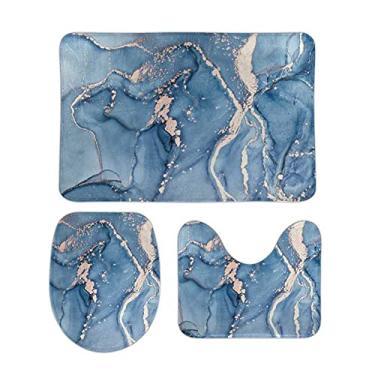 Imagem de Conjunto de 3 peças de tapetes de banheiro com arte em mármore e contorno azul, tampa de assento de vaso sanitário, tapete de banheiro antiderrapante para banheira e chuveiro