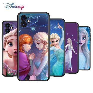 Disney bela princesa elsa silicone preto capa para apple iphone 12 mini 11 pro xs max xr x 8 7 6s 6