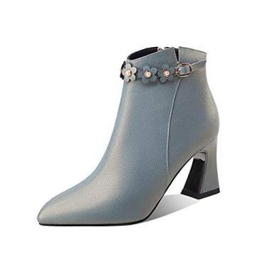 Imagem de TinaCus Bota feminina feita à mão de couro legítimo com salto médio e zíper lateral, moderna no tornozelo com decoração de fivela floral, Azul, 7.5