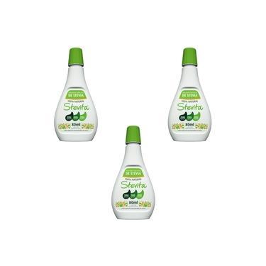 Kit 3 - Adoçante Natural Líquido Stevia 80ml - Stevita