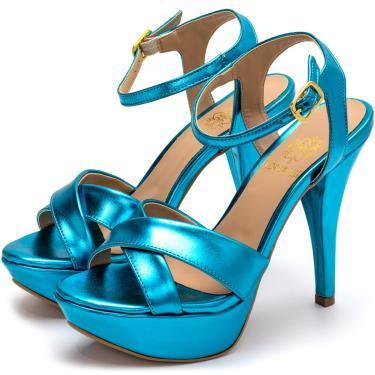 Sandália Tamanco Plataforma Salto Alto Fino Em Azul Metalizado  feminino