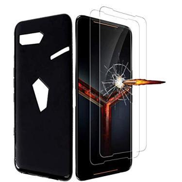 Capa MISIDE para Asus ROG Phone 2, com película protetora de tela Asus ROG Phone 2 ZS660KL. 3 em 1 resistente a arranhões, fina, moderna, macia de TPU à prova de choque + película de vidro temperado 9H, Preto