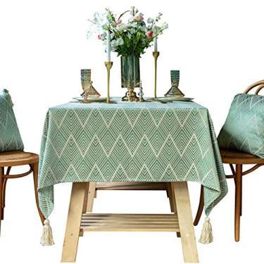 Imagem de Toalha de mesa, toalha de mesa retangular, algodão, linho, bordado, sem rugas, anti-desbotamento, toalha de mesa lavável para cozinha, festa de jantar, retangular/oblongo (cor: verde, CH: 55,155 cm)